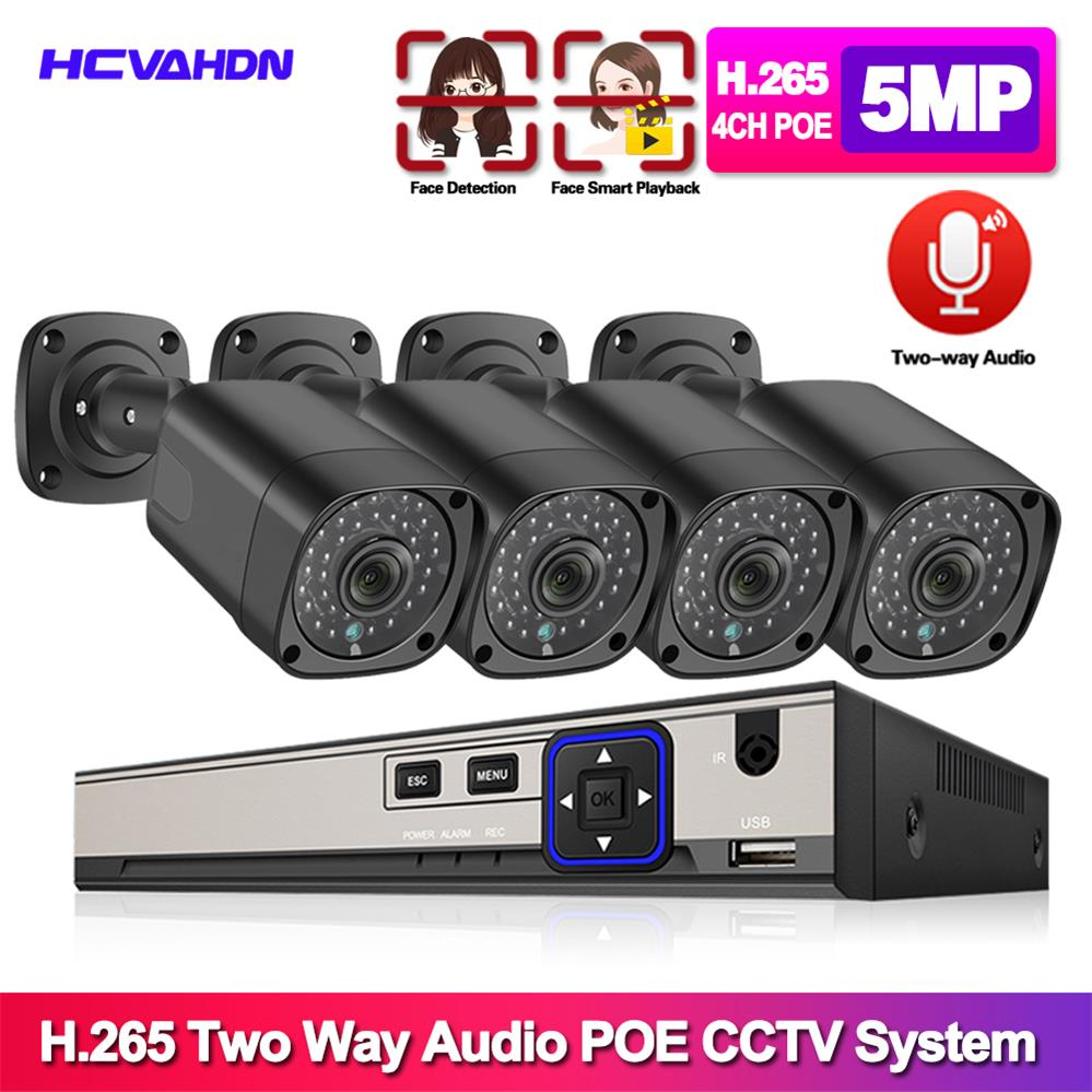 HCVAHDN H.265 4CH 5MP POE NVR Kit CCTV System Two Way Audio AI IP Camera IR Outdoor Waterproof Video Security Surveillance Set image