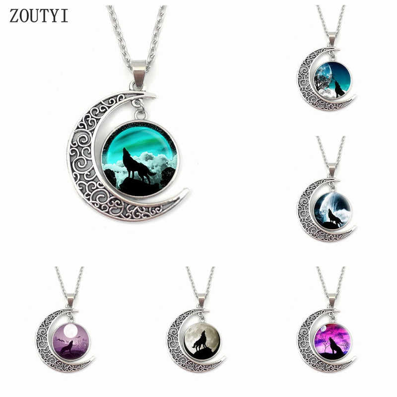 2019/Charming Wolf Totem Round Convex Crystal Pendant Necklace, Moon Necklace Jewelry, Gifts.