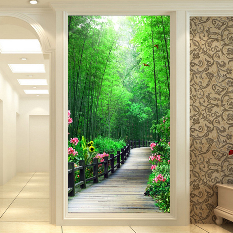 Elegant Room Orchid Entrance Wallpaper 3D Hallway Wall Mural Scenery Green Extension Entrance Wallpaper Bamboo