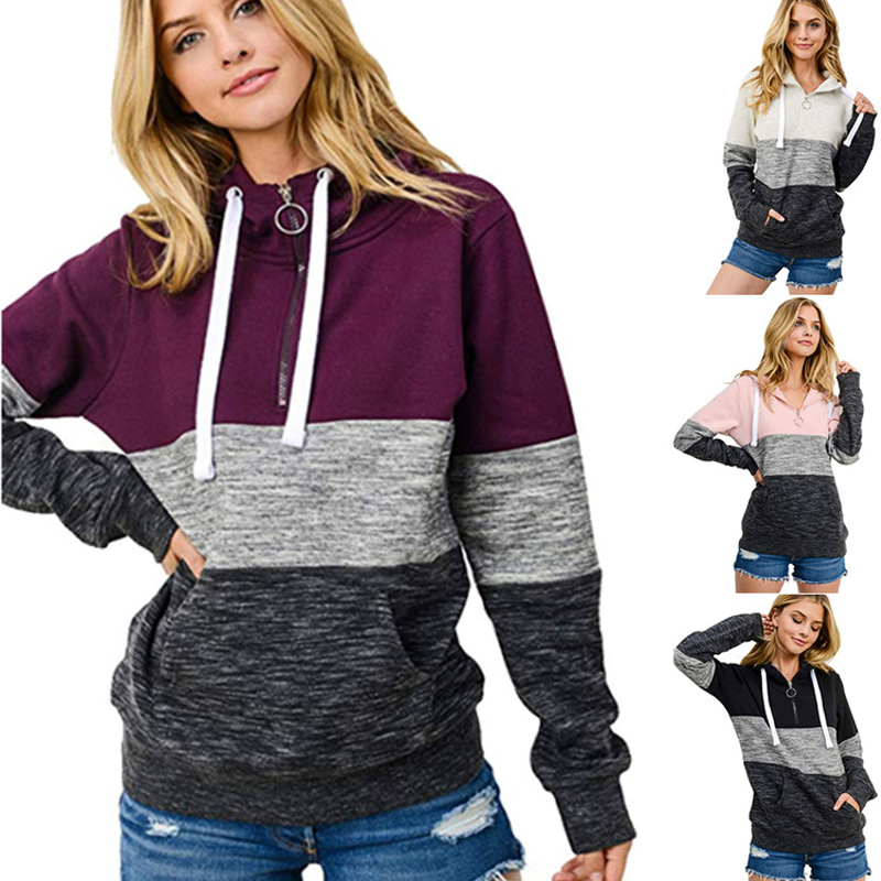 Women Autumn And Winter New Style Hoodies Women's Plus-sized Color Panel Hooded Zip Casual Hoodie Pullover