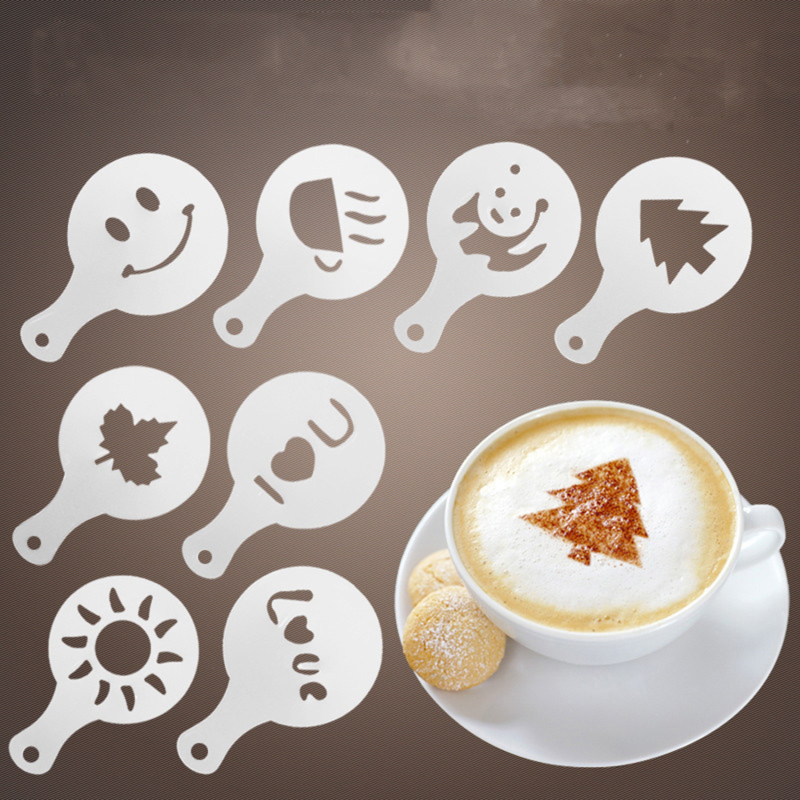 16pcs / Set Coffee Fancy Flower Print Mold Cappuccino Coffee Latte Cake Mold Coffee Cake Decoration Mold Plastic Pattern