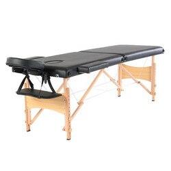 84 2 أقسام للطي المحمولة الزان الساق الجمال طاولة التدليك 60 سنتيمتر ارتفاع قابل للتعديل واسعة الأسود لصالون التجميل
