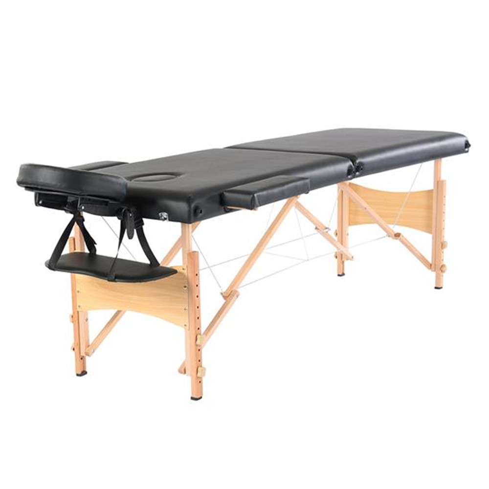 "84"" 2 Sections Folding Portable Beech Leg Beauty Massage Table 60CM Wide Adjustable Height Black For Beauty Salon"
