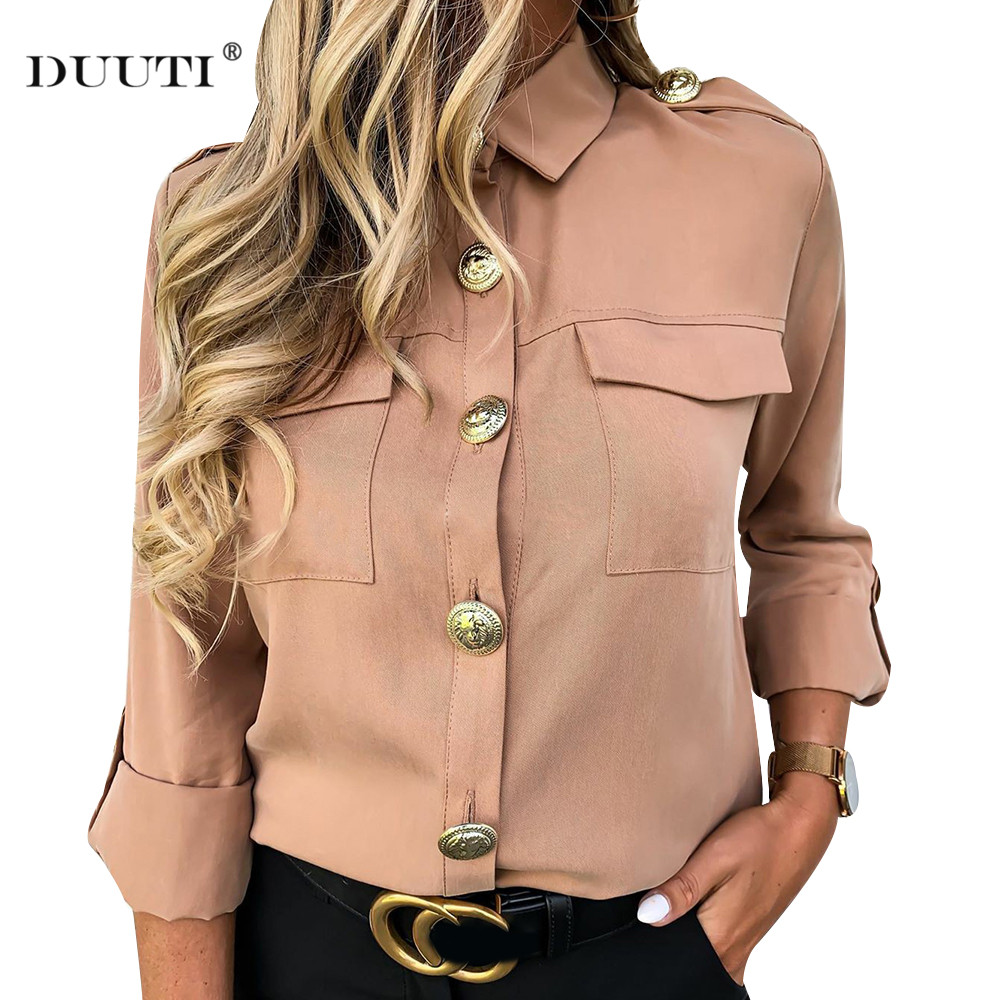 New Women Khaki Casual Shirts Spring Autumn Button Basics Army Gals Ladies Fashion Lapel Daily Wild Style Long Sleeve Shirts D30