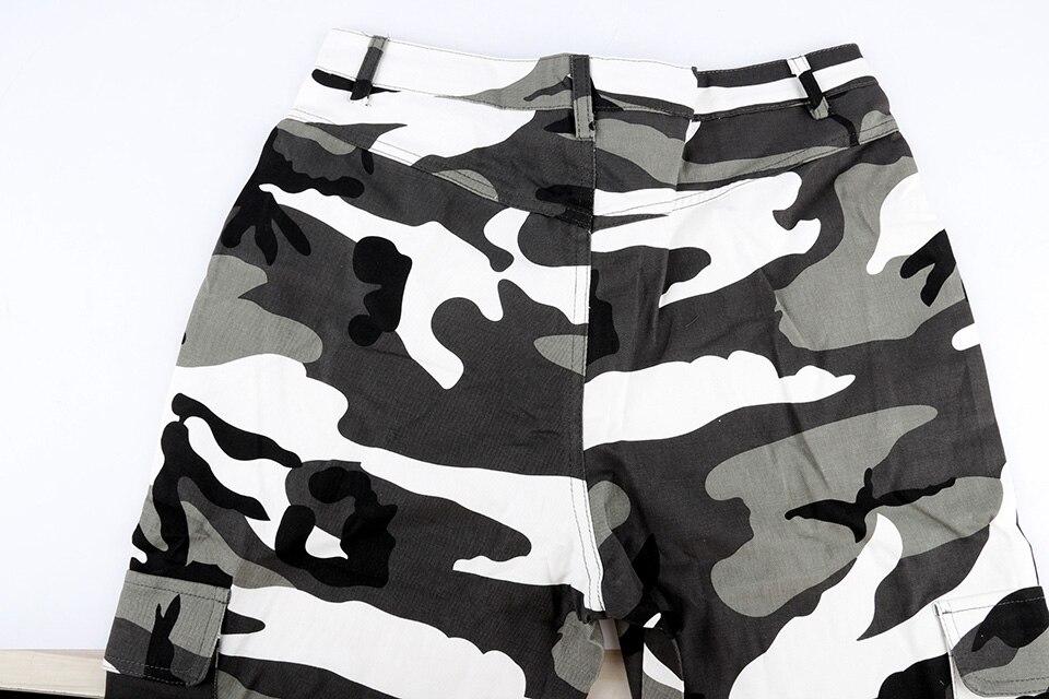 das mulheres camo carga calças de cintura