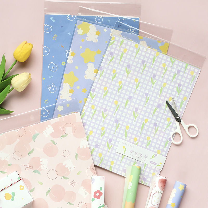 Mohamm 8 Sheets/Pack Hand Account Paper School Diary Decoration Supplies Paper Stationary Office Accessories
