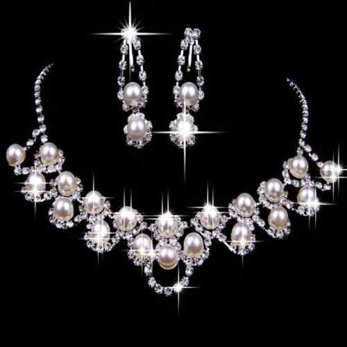 Chic Shiny Strass Faux Perle Halskette Ohrringe Set Party Hochzeit Braut Party New