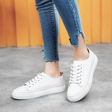 Soft Leather Lace Up Sneakers Round Toe Ladies Flat Shoes Spring Size 34-42 New Casual Flat Platform White Vulcanize Shoes Women cheap D Knight Rome Solid Spring Autumn Low (1cm-3cm) Lace-Up Fits true to size take your normal size Z90 Women Casual Sneakers Shoes