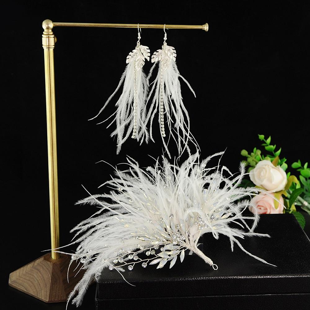 TRiXY H209 Exquisite Wedding Hair Accessories Milk Rhinestone&feather Bridal headpiece Wedding Hair Jewelry for Bride Bridesmaid