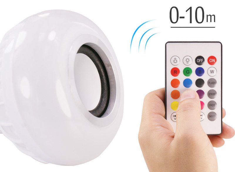 Smart E27 RGB Bluetooth Speaker LED Bulb Light 12W Music Playing Dimmable Wireless Led Lamp with 24 Keys Remote Control (7)