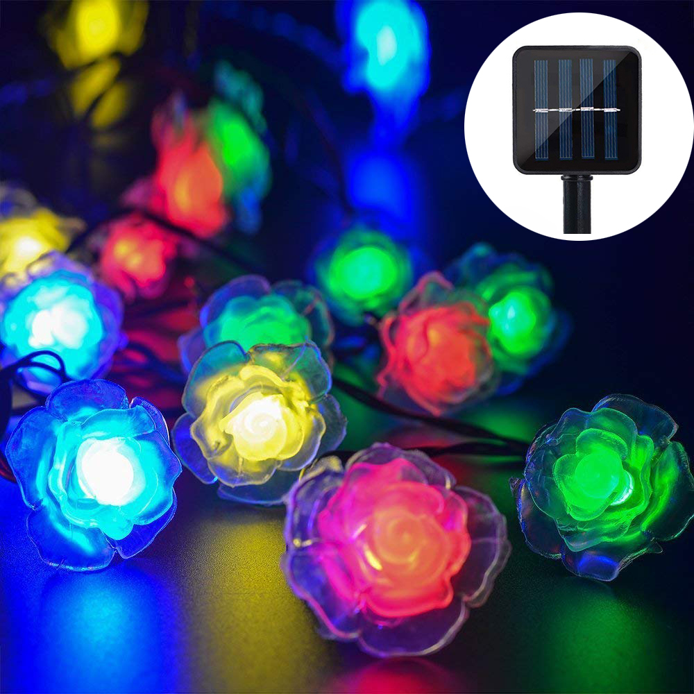 20/30/50/100/200 Led Solar Light Waterproof Outdoor LED Rose Flower String Light For Holiday Christmas Party Wedding Decoration