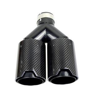 Image 4 - Podwójne włókno węglowe + czarna stal nierdzewna uniwersalny M wydajność końcówki rury wydechowej z włókna węglowego końcówki tłumika dla BMW