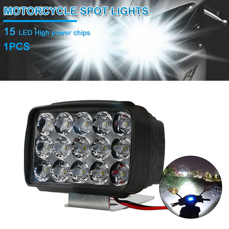 Motorcycle Headlight Spotlight  Bulb LED Spotlight 15LED 30W 6500K Spot Light Fog Driving Lamp For ATV UTV Scooter Lighting