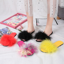 2019 Fur Slippers Women Feather Slides Home Furry Flat Sandals Female Cute Fluffy House Shoes Woman Slip On Flats