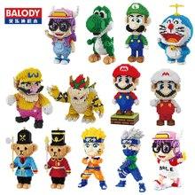 Balody bloques de construcción de Naruto, Ninja, Alrale, Doraemon, Super Mario, Wario, Yoshi, Luigi, animales, Mini bloques de diamante, juguete para niños sin caja