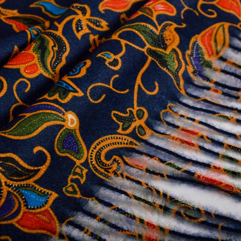 [BYSIFA] bleu marine or longues écharpes imprimées pour les femmes mode d'hiver de luxe cachemire Pashmina enveloppes dames automne cou foulard