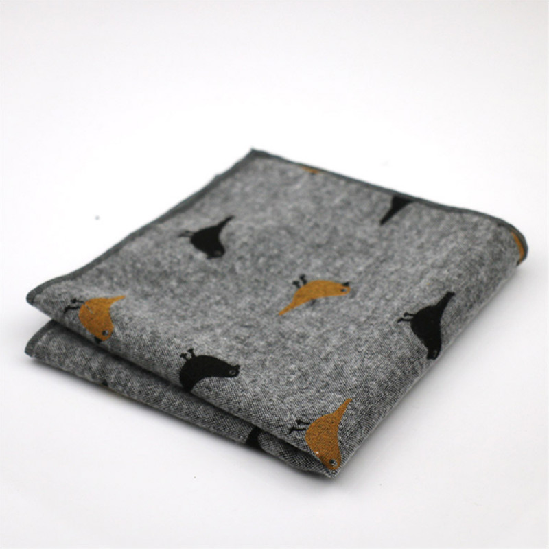 New Brand Men's Pocket Square Handmade Design Cotton Printed Bird Soft Light Elegant 25*25cm Wedding Party