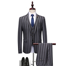 Striped suit 3-piece (coat + trousers vest) mens slim business casual single-breasted groom wedding dress