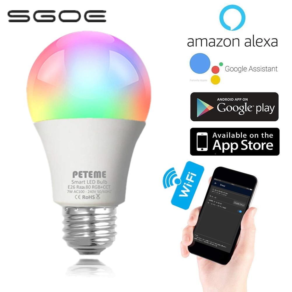 Sgoe e27 tuya inteligente lâmpada led wake up luz regulável rgb wifi controle de voz luz quarto com alexa e assistente do google