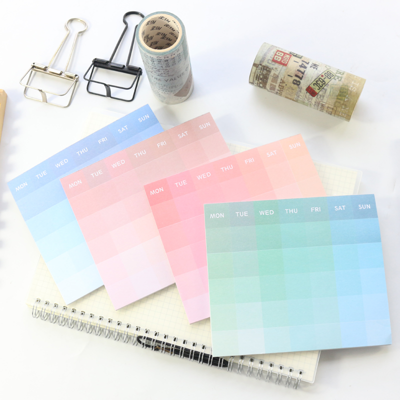 Domikee Cute Candy Macaron Watercolor Office School Desk Weekly Planner Notepad Student Agenda Planner Note Pad Stationery