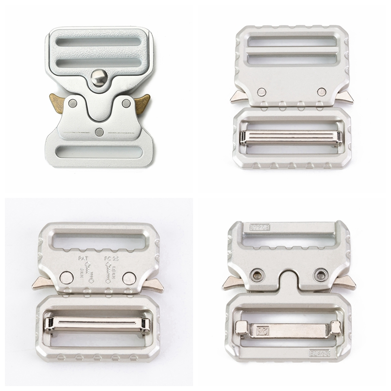 Metal Quick Side Release Buckles for Webbing Tactical Belt Safety Strong Hooks Clips DIY Outdoor Luggage Accessories Silver