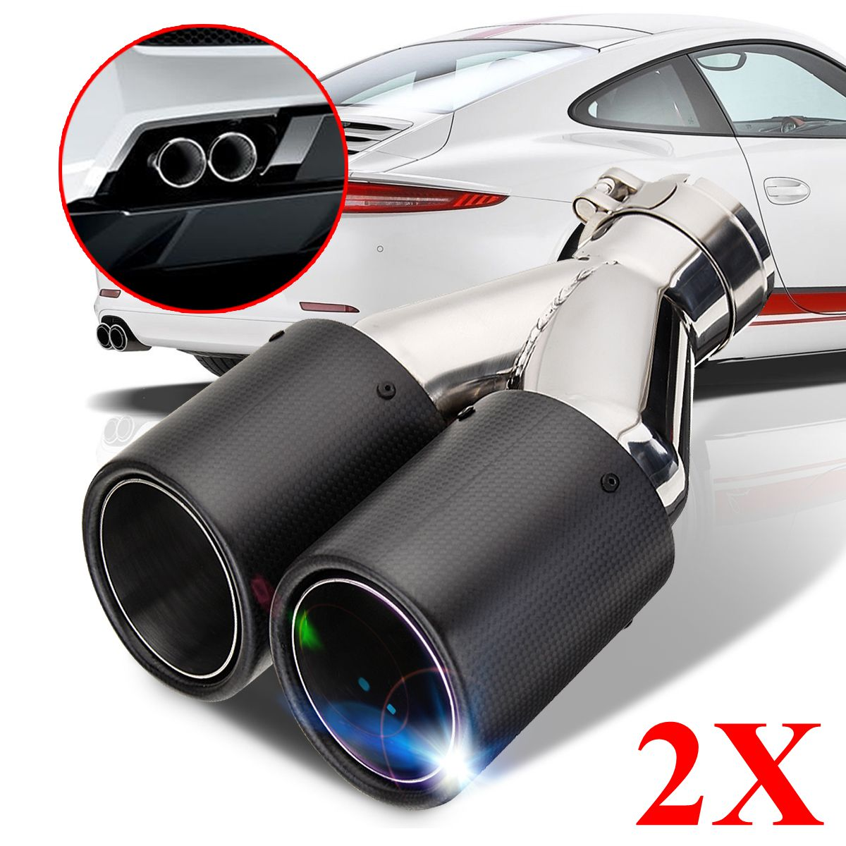 Hot Universal Tip Blue Round Dual-Outlet Stainless Steel Exhaust Muffler Dual Pipe Chrome Trim Modified Car Rear Tail Throat Lin