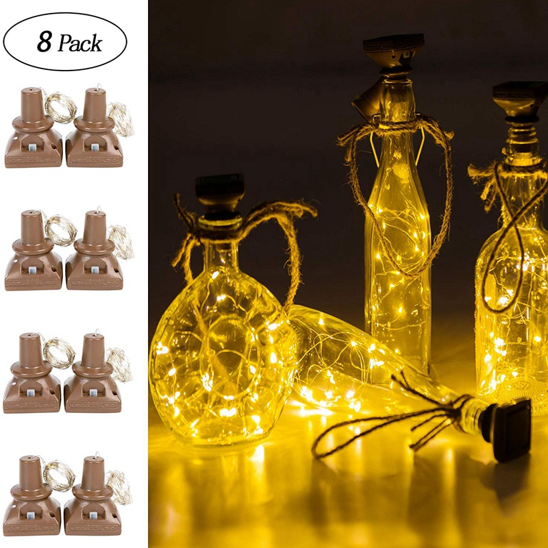 Top-8 Pack Solar Powered Wine Bottle Lights 20 LED Waterproof Copper Cork Shaped Lights for DIY Wedding Christmas Party Holiday