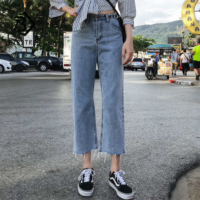 Spring New Vintage High Waist Slouchy Mom Jeans Denim Straight Pants For Women Autumn Casual Ripped Trousers Vaqueros Mujer B016