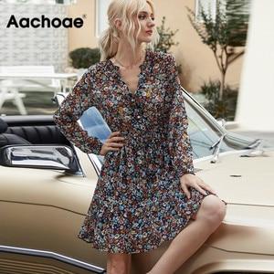 Aachoae Summer Boho Floral Print Dress Women Lantern Long Sleeve Pleated Dresses V Neck Beach Mini Dress Female Roupa Feminina