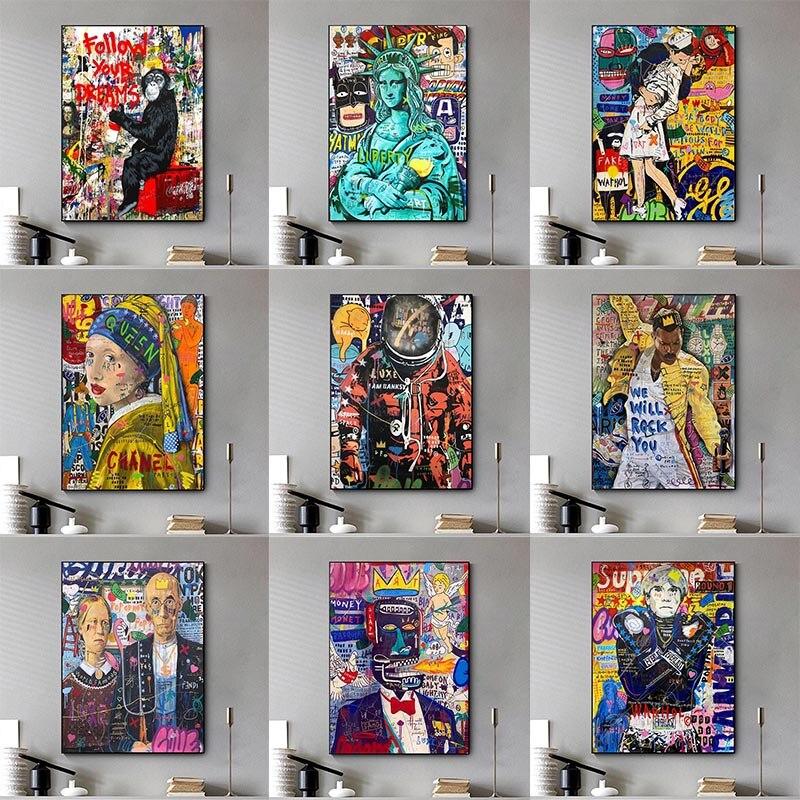 Graffiti arte da parede rua colorido graffiti quadros em tela na parede arte de rua cartazes e impressões para casa cuadros decoração
