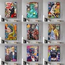 Graffiti duvar sanatı sokak renkli grafiti tuval resimleri duvar sanatı sokak posterler ve baskılar ev Cuadros dekor