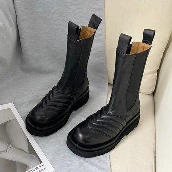 Nowe damskie buty zimowe moda najwyższej jakości buty z prawdziwej skóry wygodne buty trekingowe ciepłe buty casual chelsea Boots