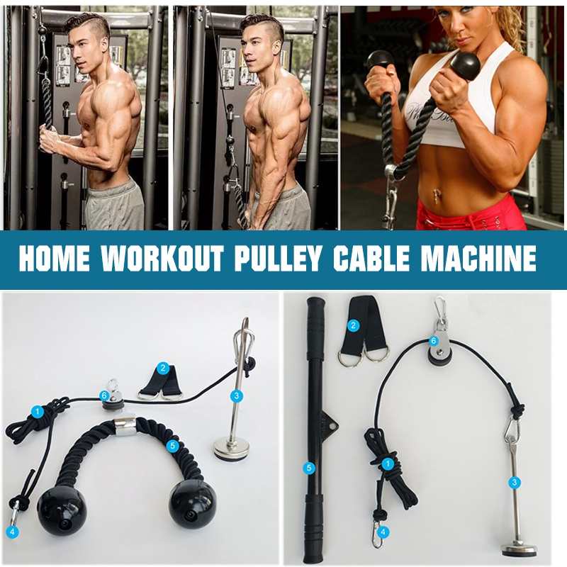 Home Workout Pulley Cable Machine Fitness Arms Biceps Triceps Training  Exercise Machine Bodybuilding Muscle