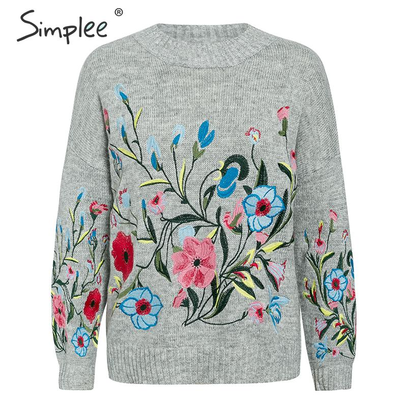 Simplee Mohair Flower Embroidery Women Pullover Sweater Autumn Winter Female Jumper Long Sleeve Casual Ladies Top Pullover 2019