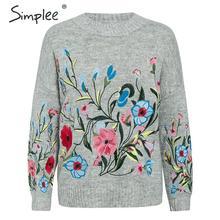 Simplee Mohair mulheres bordados de flores pullover jumper de camisola Outono inverno feminino manga Longa ocasional das senhoras top bordado 2019