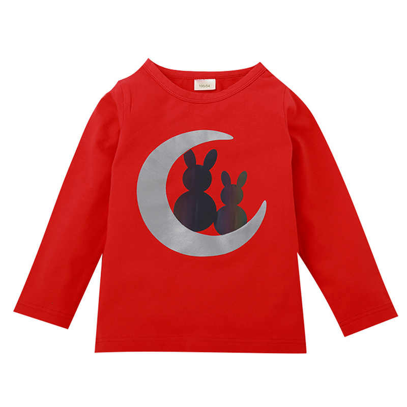 2-8Y Spring Autumn Baby Boys Girls Long Sleeve Reflective Design T-Shirts for Kids Cartoon Print Tops Casual Blouses Clothes