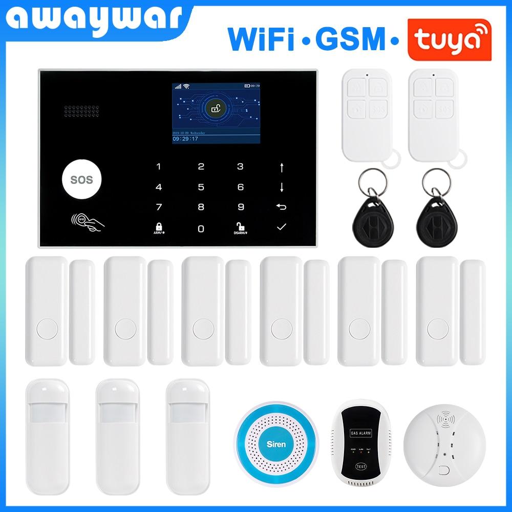 Awaywar Tuya Wireless WIFI GSM Security Alarm System 433MHz RFID Kit APP Remote Control Burglar Smart Home PIR Door Detector