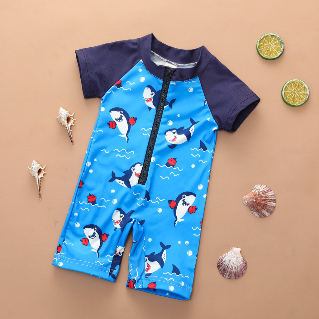 Toddler Baby Swimming Pants Boy Short Sleeve Cartoon  One Piece Swimsuit Jumpsuit Swimwear Surfing Suit L1209