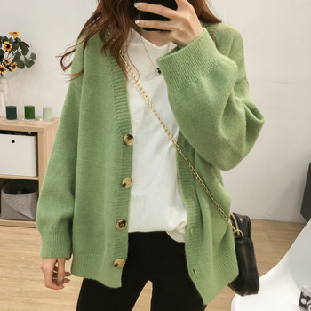 Autumn Loose Women Knitted Cardigans 2019 Vintage Solid Single Breasted Knit Sweater Cardigan Casual Winter Jacket Women Outwear