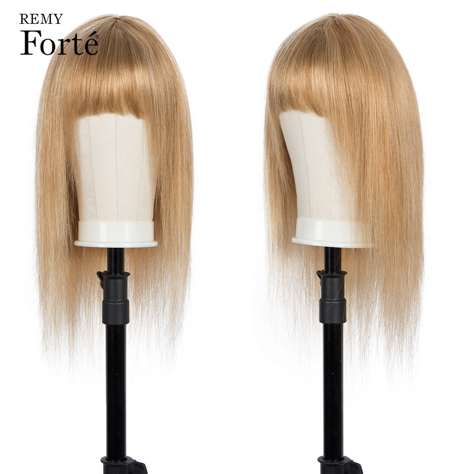 Remy Forte Human Hair Wigs 100% Natural Brazilian Hair Wigs With Bangs Blonde Short Straight Bob Wigs For Women 30 Inch Wig