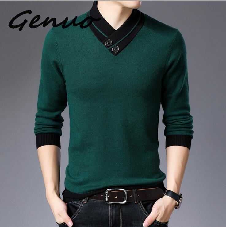 Genuo New 2019  Sweater Men Autumn Winter Thick Warm Cashmere Wool Pullover Men Button Turtleneck Pull Homme Knitwear Tops