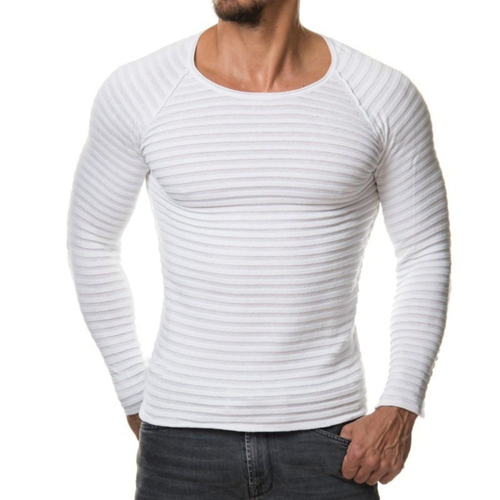 Men's Solid Color Knitted Sweater 2017 Autumn Winter Fashion Simple Men Round-neck Slim Fit Bottoming Knitting Sweater Wholesale