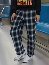 Dropshipping vintage plaid pant cintura elástica pant feminino cintura alta plus size calças de perna larga casual feminino coreano