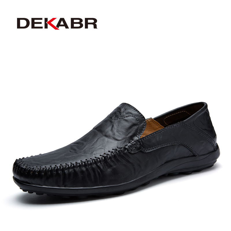 DEKABR Soft Leather Men Loafers New Handmade Casual Shoes Men Moccasins For Men Split Leather Flat Shoes Big Size 38-47
