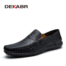 DEKABR Soft Leather Men Loafers New Handmade Casual Shoes Men Moccasins For Men Split Leather Flat Shoes Big size 38 47