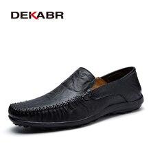 Мужские мокасины из мягкой кожи DEKABR, черная повседневная обувь ручной работы, туфли из сплит кожи на плоской подошве, большие размеры 38 47, весна осень 2019