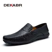 Dekabr mocassins masculinos de couro macio novos sapatos casuais feitos à mão mocassins para homem split couro sapatos planos tamanho grande 38 47