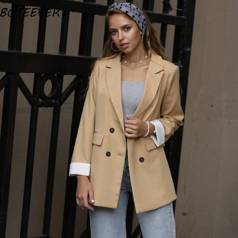 Chic Double-breasted Women Jackets Notched-neck Yellow Women Blazer Jacket Female Outerwear Elegant Ladies Coat 2019 Autumn