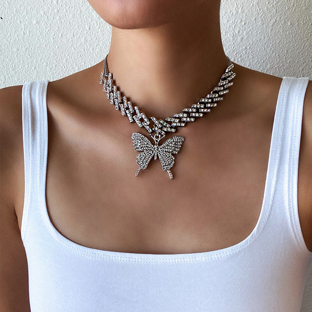 Fashion Butterfly chain iced out cuban link chain butterfly necklace womens 2020 chocker hip hop jewelry ice jewellery