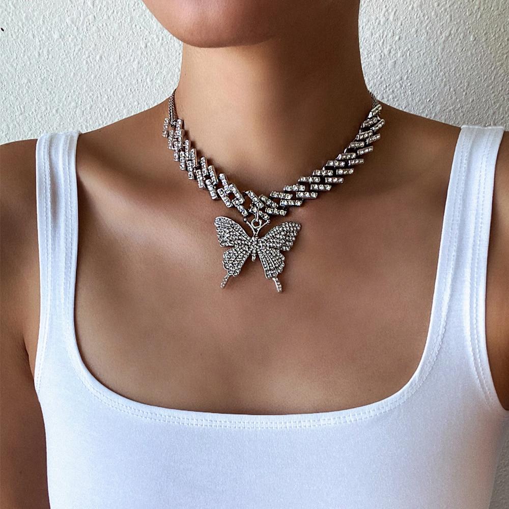 Mode papillon chaîne glacé cubain lien chaîne papillon collier femmes 2020 chocker hip hop bijoux glace bijoux